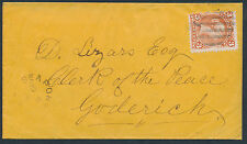 1868 Huron County Cover, Seaforth to Goderich, #25 3c Large Queen
