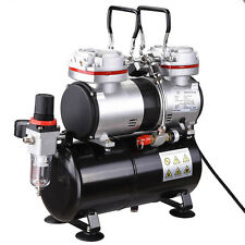 Twin Cylinder Piston Airbrush Compressor w/Tank 1/3 HP Hobby T-Shirt Tattoo