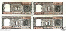 LOT OF 4 PCS.10 RS. TEN RUPEES BLACK BOAT UNC NOTE IN CONSECUTIVE SERIAL NO.