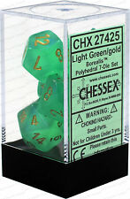 Chessex Borealis Light Green w/ Gold Polyhedral 7 Dice Set CHX27425