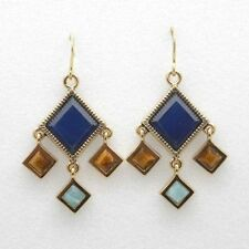 Barse Jewelry Blue Agate Geometric Bronze Earrings