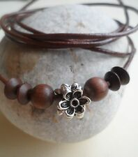Brown Leather Wrap/ Anklet/Thong/Surf Cuff/Wristband/Bracelet Daisy Flower Chain