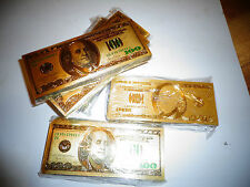 24 k GOLD PLATED $ 100 DOLLAR* GREEN SEAL *USA  BILL-IN RIGID BILL HOLDER