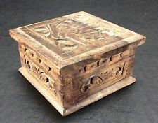 Vintage Hand Carved Wooden Trinket Box With Bird Design 3x3 Jewelry Box