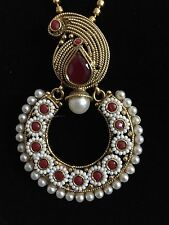 Indian Pakistani Ethnic Antique Gold Finish Pearl Moti Ruby Jewelry Pendant Set