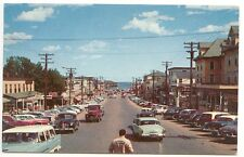 Old Orchard Beach ME Street View Old Cars & Trucks Store Fronts Postcard