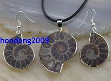 Natural  Ammonite Fossil Beads Pendant Necklace & Dangle Earrings set