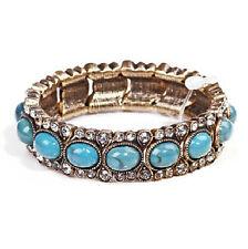 Vintage Style Turquoise Blue Stones Elastic Personality Bangle Bracelet BB100