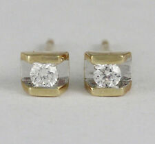14k Yellow Gold Channel Set Diamond Stud Earrings (new, tdw .1ct) #2112