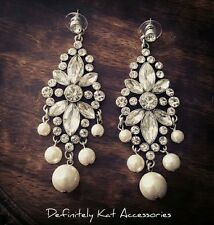 Stunning white crystal & pearl chandelier cocktail bridal statement earrings