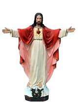 Sacred Heart of Jesus with open arms resin statue cm. 65