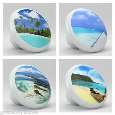 Set of 4 Ocean Beach Nautical Ceramic Knobs Kitchen Drawer Cabinet Closet 738