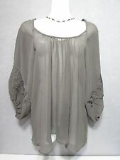 COSTA BLANCA Collection Gray w/Embroidered Paisley Tunic Top SZ M-M