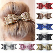 17 Colors Women Girls Sequins Big Bowknot Barrette Hairpin Hair Clips Hair Bow