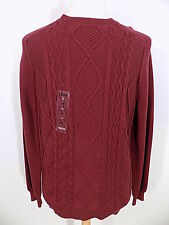 New $70 IZOD Men's Crewneck Sweater Sz L Large Burgundy Cable Knit L/S NWT