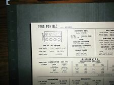 1960 Pontiac All Models 389 Cubic Inch V8 SUN Tune Up Chart Excellent Condition!