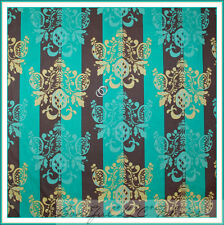 BonEful Fabric FQ Cotton Quilt Tina Given Damask Stripe Flower Brown Aqua Yellow