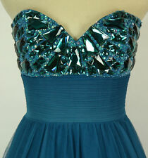 Jovani NWT Size 2 Teal Polyeste Strapless Ball Gown $640 Long Prom Formal Cruise