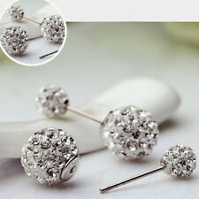Shiny White gold filled crystal Stud earrings lucky Korean earing backs earrings