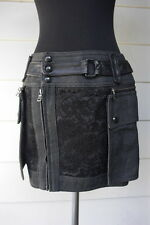 Women's DIESEL BLACK GOLD Denim Skirt Lace and Leather Convertible Waist 29