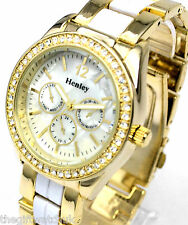 Ladies Henley Genuine Sparkly Crystals Watch White Enamel & Gold Tone, Boxed
