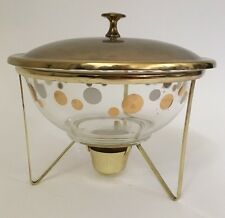 Vintage Atomic Glass Pyrex Bowl Polka Dot with Brass Warmer and Lid