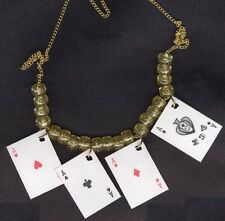 Funky 4-ACES PLAYING CARDS NECKLACE-Fun Casino Poker Lucky Charm Novelty Jewelry