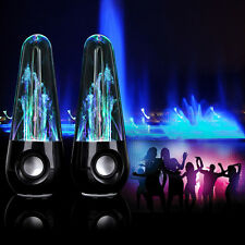 LED Music Water Dancing USB Fountain Speakers Stereo Set For Laptop Mobiles PC
