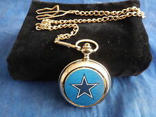 DALLAS COWBOYS NFL CHROME POCKET WATCH WITH CHAIN (NEW)