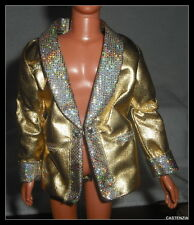 JACKET MATTEL KEN DOLL BARBIE LOVES ELVIS PRESLEY GOLD LAME BLAZER  TOP COAT