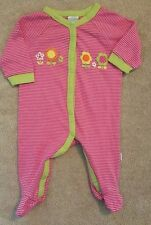 ADORABLE! LAMAZE 0-3 MONTH PINK STRIPED FLOWERS FOOTED SLEEP N PLAY OUTFIT
