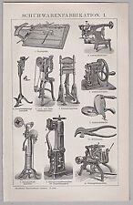 Chaussures, cordonnier, schumacher, outils, machines de la fabrication-pour 1900