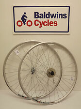 700c PAIR Road Bike Wheels - Q/R - WEINMAN Rim SILVER + 8 SPEED CASSETTE