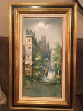 "BEAUTIFUL OIL PAINTING ARTIST SIGNED STANFORD CITY SCENE CANVAS FRAMED 32""x20"""