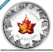 Canada 2016 Autumn Radiance Murano Glass Maple Leaf $50 5 Oz Pure Silver Proof