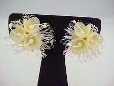 Vtg Western Germany Lemon Flower Clip Earrings Stigma Cluster