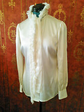 Tory Burch Detachable Ruffle Collar Silk Blouse. Ivory. Size 2