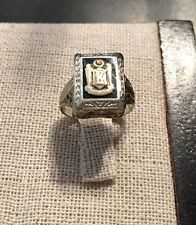 1928 Initial K Vintage Antique Ring White Gold Onyx Yellow Gold Crest Sz 4