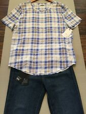 NWT Equipment Riley Tee Blue and White Plaid Check Silk Short Sleeve Top S