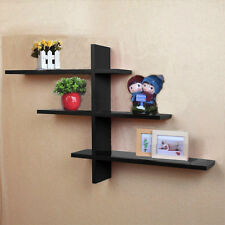 T-Shape Floating Shelf Wall Mounted Display Shelves Storage Book DVD Black 1 Set