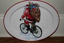 New Pottery Barn Christmas Painted Santa Claus Bike oval serving platter bicycle