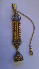 ANTIQUE POCKET WATCH CHAIN / FOB GOLD FILLED VICTORIAN WITH INITIAL SEAL