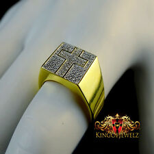 MENS REAL GENUINE DIAMOND HOLY CROSS PINKY RING BAND 10K YELLOW GOLD FINISH NEW