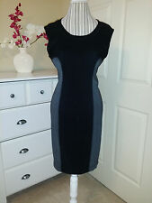 NWT Costa Blanca Black/Gray ColorBlock Fitted Stretch Cocktail Dress Sz.L $62