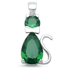 Green Emerald Cat .925 Sterling Silver Pendant