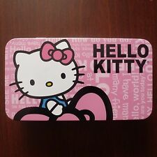 "Hello Kitty Tin Box 7.75"" x 4.5"" 1.5"" Deep Sanrio Pink Storage Container"