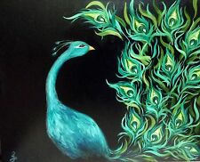 """""""The Dance"""" Original Oil Painting peacock bird feather feathers"""