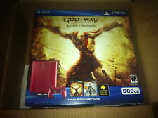 NEW Red Sony Playstation 3 Super Slim God of War Legacy Bundle 500 GB Console