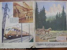 Vecchio quaderno scolastico di scuola MILIZIA FORESTALE AUTARCHIA PIZZI E PIZIO