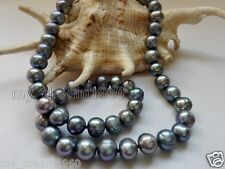 "NEW Long 18 "" 8-9mm natural Black freshwater pearl necklace AAA"